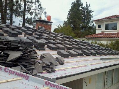 Concrete tile roof in progress in San Dimas