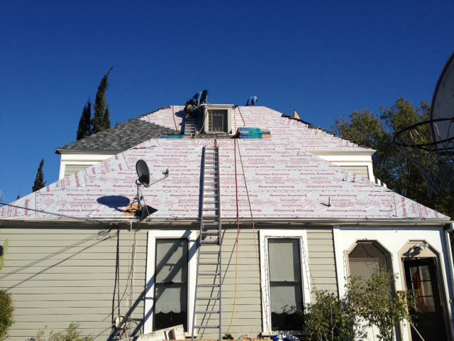 50 year composition shingle roof in progress in Hacienda Heights