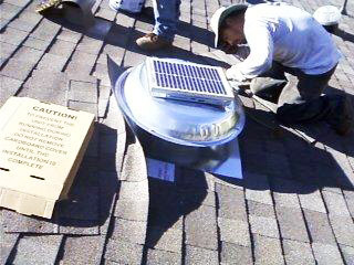 Solar attic fan installed on roof in Diamond Bar